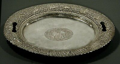Indian Silver Tray        Cobra Handles    HAND WROUGHT       50 Ounces
