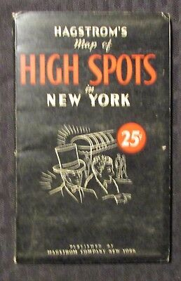 1945 Hagtrom's Map of HIGH SPOTS in New York VG+ 4.5