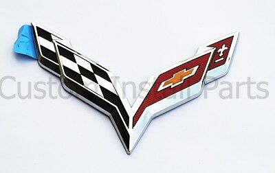 NEW 2014-2019 Rear Chrome Bumper GM Corvette C7 Cross Crossed Flags Emblem Decal