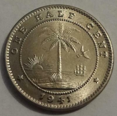 1941 Liberia, 1/2 Cent, One Year Type, Mintage 250K