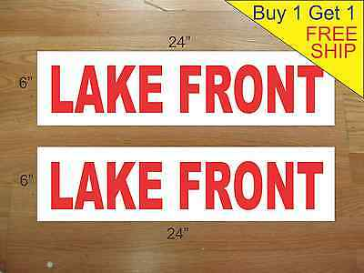 """LAKE FRONT 6""""x24"""" REAL ESTATE RIDER SIGNS Buy 1 Get 1 FREE 2 Sided Plastic"""