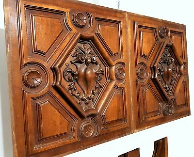 Pair Hand Carved Wood Panel Antique French Gotic Coat Of Arms Rosace Panelling