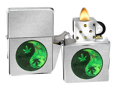 Zippo 207 Yin Yang Marijuana Street Chrome Windproof Pocket Lighter New