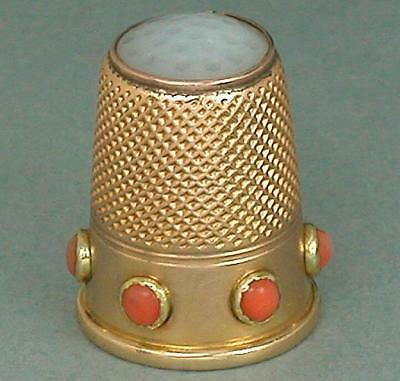 Antique 14 Kt Gold Coral Band Stone Top Thimble * Germany * Circa 1890s