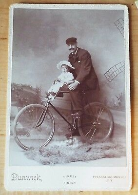 Unusual Antique MAN ON BICYCLE WITH CHILD IN SEAT CABINET CARD PHOTO Dunwick
