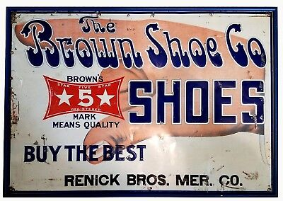 Antique Embossed TIN SIGN Brown Shoe Co. RENICK BROS. 5¢ Shoes