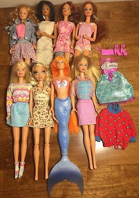 Lot of 8 Barbie/My Scene Dolls with Clothes; Good Played Condition