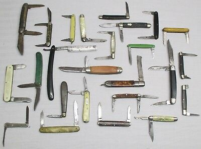 LOT of 25 VINTAGE Single Double Triple Blade POCKET KNIFE KNIVES UNKNOWN BRANDS