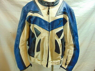Xpert Sport Blue & White Heavy Leather Motorcycle Dirt Bike Coat Jacket Sz 52H