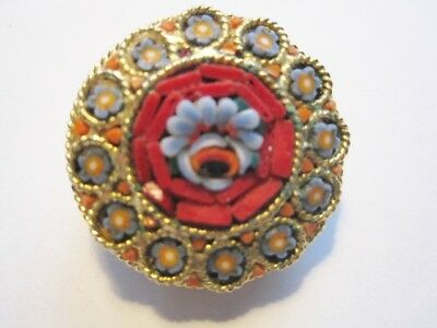 Beautiful Vtg Gold-Tone Filigree Mosaic Floral Brooch Pin Vtg C-Clasp Gift Box
