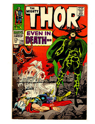 The Mighty THOR #150 in Mid Grade a 1967 MARVEL comic KIRBY & LEE 1st HELA