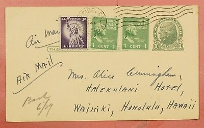 Prexie Use 1956 Uprated Airmail Postal Card Riverside Ca To Hawaii