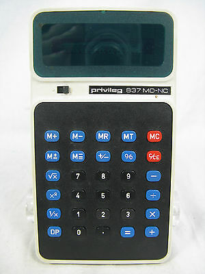 Rare 70´s vintage calculator Taschenrechner PRIVILEG 837 MD-NC + manual working