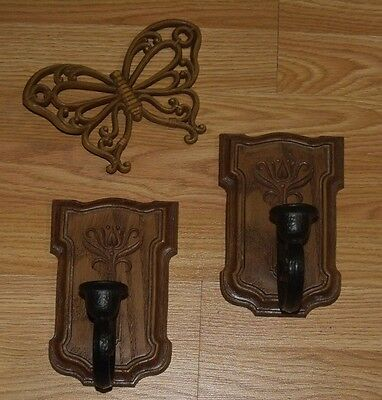 Vtg Homco Syroco Wall Candle Holder Sconces Butterfly Plaque Set Lot Art Accent