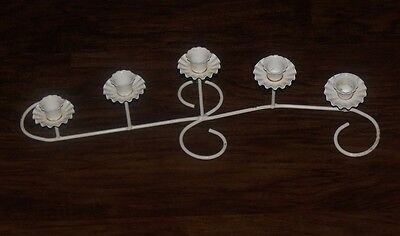 Vtg Home Interiors Cottage White Wrought Iron 5 Candle Holder Sconces Candelabra