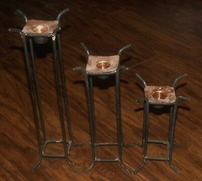 Vtg Primitive Wrought Iron Copper Candle Holder Sconce Candlestick Arts & Crafts