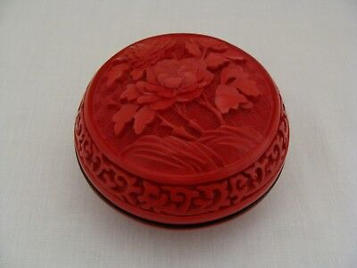 Asian Chinese Round Domed Carved Red Cinnabar And Black Lacquer Box