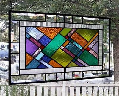 **COLORFULLY DIAGONAL** Stained Glass Window Panel (Signed and Dated)