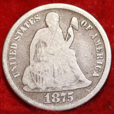 1875-CC Carson City Mint Silver Seated Liberty Dime Free Shipping