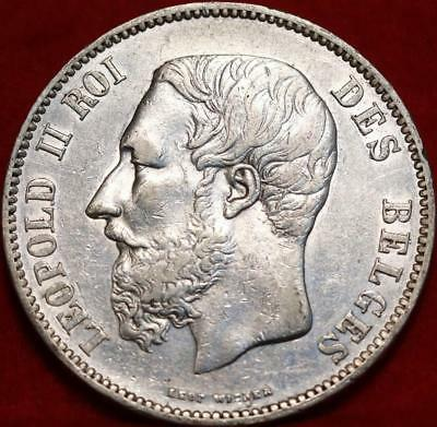1868 Belgium 5 Francs Silver Foreign Coin Free S/H