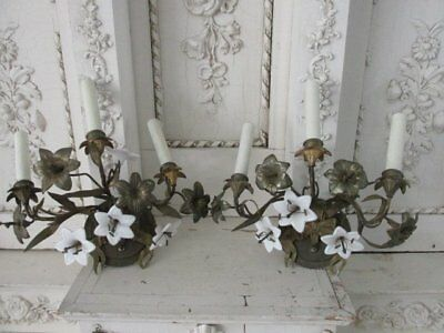 EXQUISITE PAIR Old Vintage French SCONCES WALL LIGHTS White Porcelain Flowers