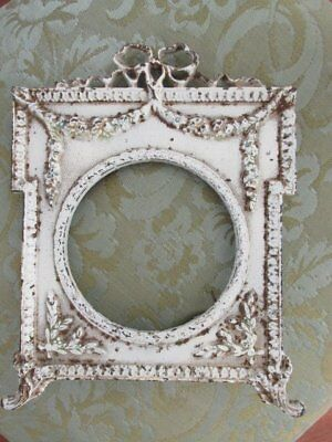 OMG Old Vintage French Metal PICTURE FRAME ORNATE SWAGS GARLAND BOW Chippy White