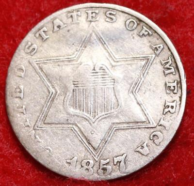 1857 Philadelphia Mint Silver Three Cent Coin Free Shipping