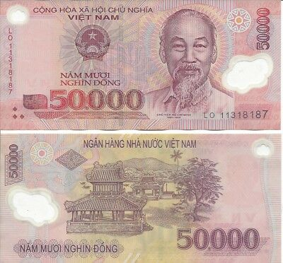 Lot of 10 Vietnam Dong 50,000 ( 500,000 ) Currency Polymer Banknotes Circulated