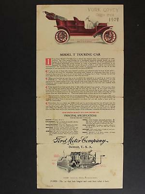 1909 FORD MODEL T TOURING CAR ADVERTISING PAMPHLET~First full year of Production