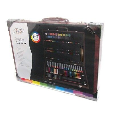 Complete Paint Drawing Art Kit Wooden Box Set Stylish Storage Case 167 Piece