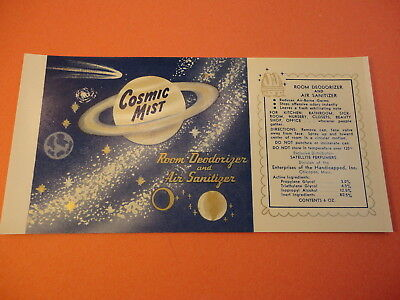 12 1960s Atomic Space Age COSMIC MIST Air Sanitizer Labels SATURN Comet Planets