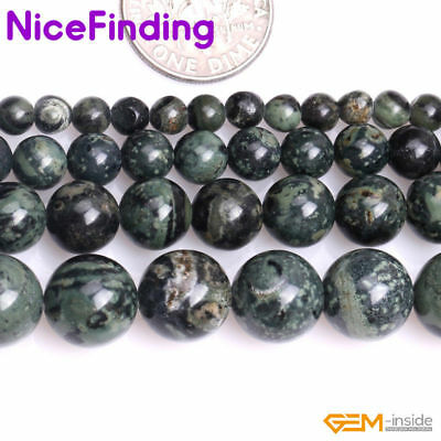 "Natural Round Blue Rhyolite Kambaba Jasper Stone Beads For Jewelry Making 15""DIY"