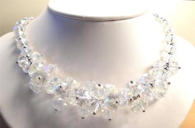 Vintage 70's AB Aurora Borealis Clear Glass Crystal Bead Cluster Necklace