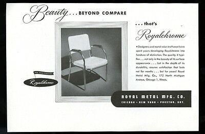 1947 Royal Metal Royalchrome chrome chair photo vintage print ad