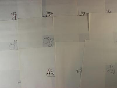 LOT of 12 1992 TOM and JERRY THE MOVIE PRODUCTION DRAWINGS of TOM & PILLOW~BOWL
