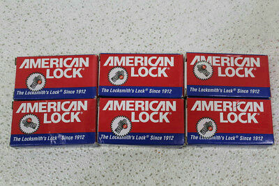 "Lot of 6 American Lock 1-1/8"" BumpStop Padlocks with Attached Chains A5200GLWNKA"