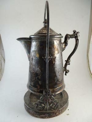 Antique Victorian Silver Plated Tea Coffee Pot Server Hinged Eastlake 1880s Vtg
