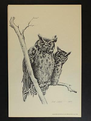 LOT of EIGHT 1976 WESTERN ARTIST BOB DALE 11 x 17 PRINTS of GREAT HORNED OWL