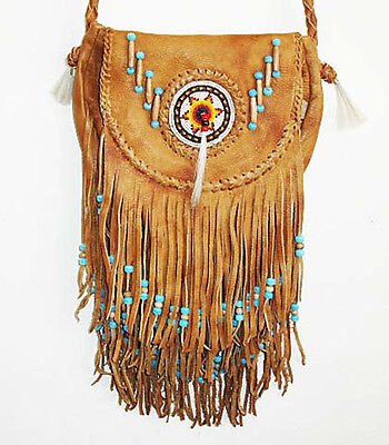 SOUTHWEST AMERICAN INDIAN SADDLE BAG TAN LEATHER PURSE Beads Hippie Style Fringe