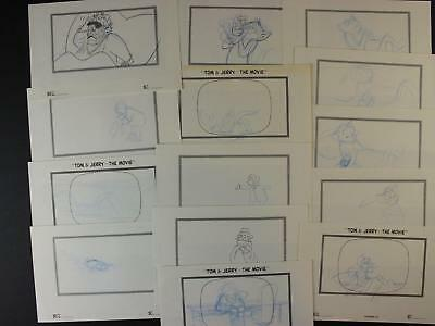 LOT of 14 1992 TOM and JERRY THE MOVIE CONCEPT ART~STORY PANELS~