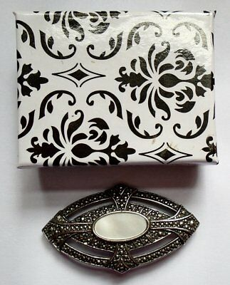 MARCASITE MOTHER of PEARL OVAL + GIFT BOX VINTAGE BROOCH PIN SILVER TONE