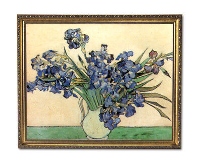Vincent Van Gogh Irises In Vase Flower Wall Picture Gold Framed Art Print
