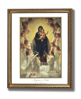 Madonna And Child Angel Religious Wall Picture Gold Framed Art Print