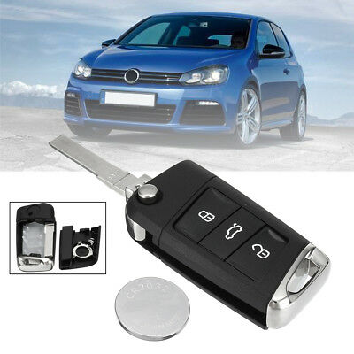 3 Button Remote Key Fob Case Shell +Battery For Volkswagen Golf MK7 CR2032 02-06