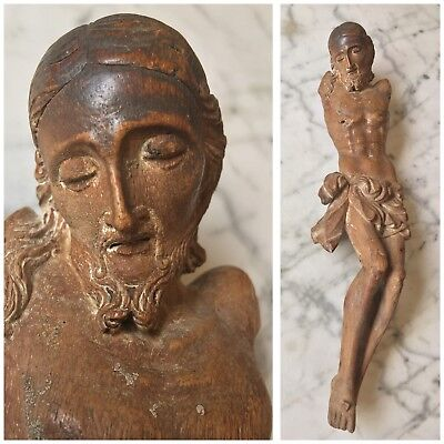 Antique 18th 19th Century Hand Carved Wood Corpus Christ Statue Crucifix Jesus