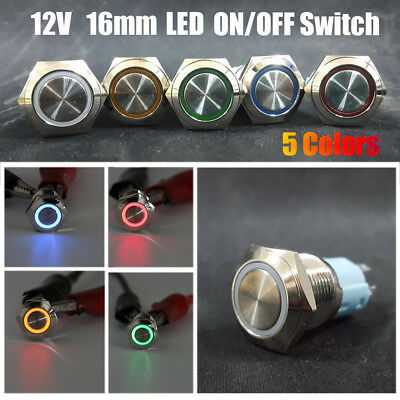 5Colors 16mm 12V Car Aluminum LED Power Push Button Metal ON/OFF Switch Latch