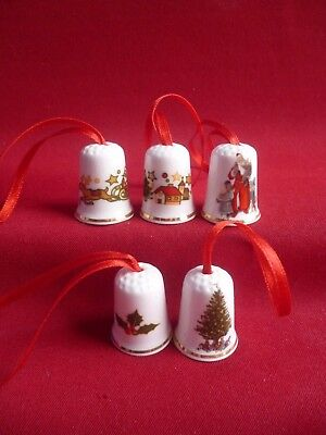 Set of 5 Mixed Christmas Red Ribbon  (Gold Gilded) Collectors Thimbles