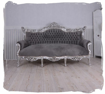 Royal Sofa Baroque Salon Couch Silver Grey Antique Bench 200cm