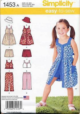 Simplicity Sewing Pattern 1453 Girls Sz 3-8 Dress, Top, Pants, Shorts, Hat