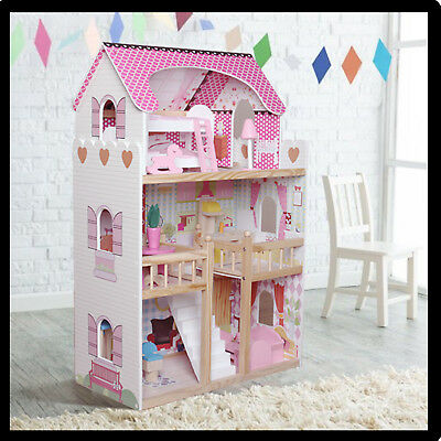 Wooden Dollhouse Large Dolls House Include 17PCS Furniture Barbie Doll
